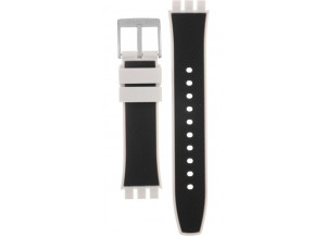 Black & White Silicone Rubber Strap